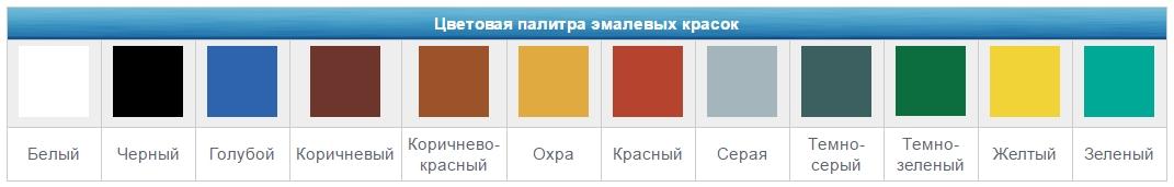 Цветовая палитра эмалевых красок (белый, серый, черный, красный, желтый, синий, зеленый, коричневый)